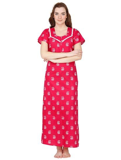 Secret Wish Women's Pink Cotton Printed Maxi Nightdress
