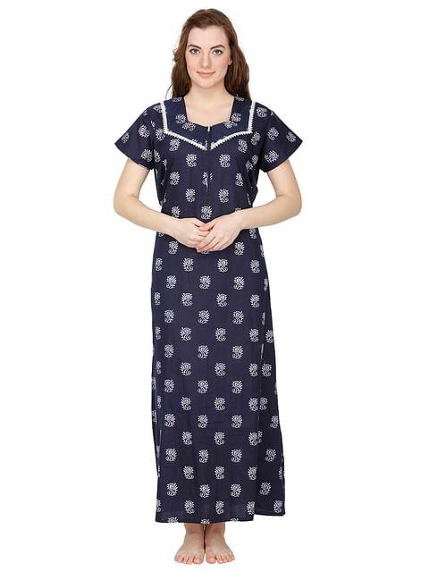 Secret Wish Women's Blue Cotton Printed Maxi Nightdress