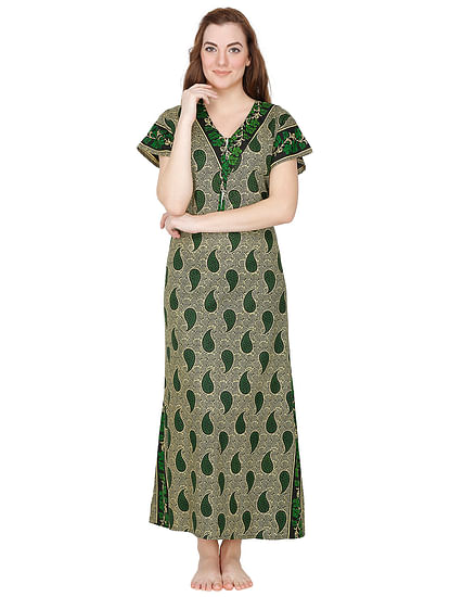 Secret Wish Women's Green-Beige Paisley Print Cotton Maxi Nightdress