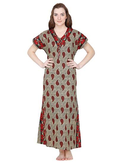Secret Wish Women's Cotton Printed Nighty (Maroon, Free Size)