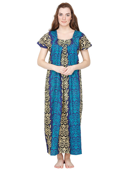 Secret Wish Women's Blue Cotton Printed Maxi Nightdress