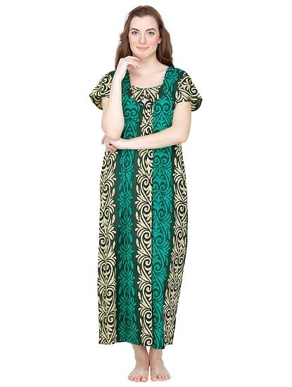 Secret Wish Cotton Green Nighty, Nightdress