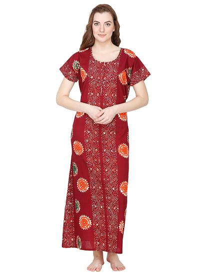 Secret Wish Women's Maroon Cotton Printed Maxi Nightdress