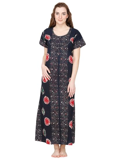 Secret Wish Women's Navy Cotton Printed Maxi Nightdress