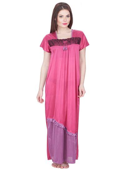 Secret Wish Women's Satin Nighty (Pink, Free Size)