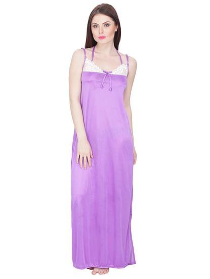 Secret Wish Women's Satin Nighty (Blue, Free Size)